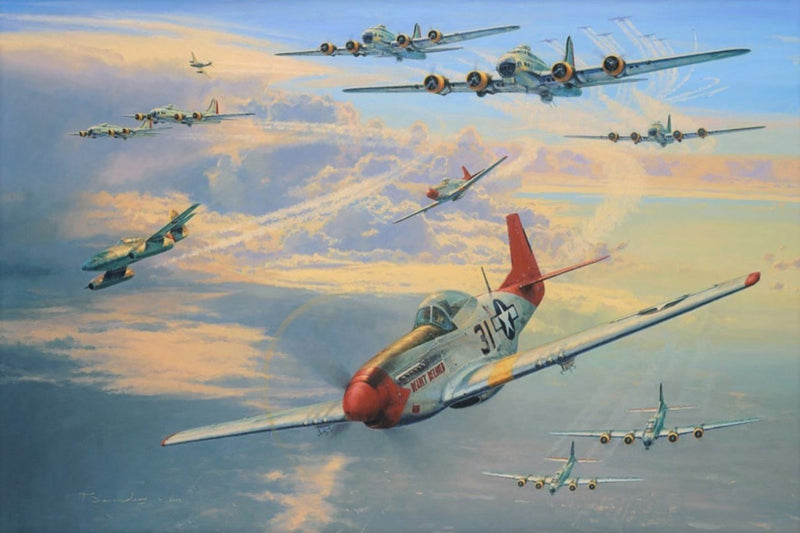 Long Haul to Berlin by Anthony Saunders - Aviation Art of P-51 and B-17