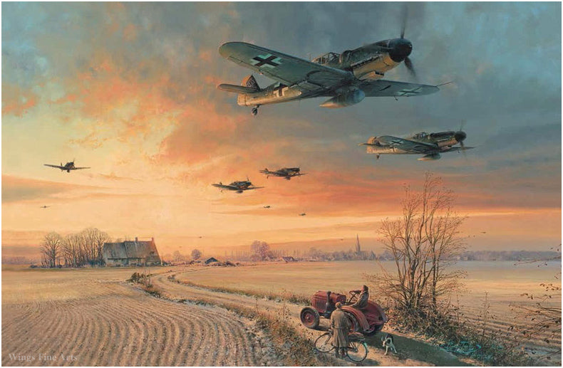 The Long Short Days by Robert Taylor - Aviation Art of the Luftwaffe Me109