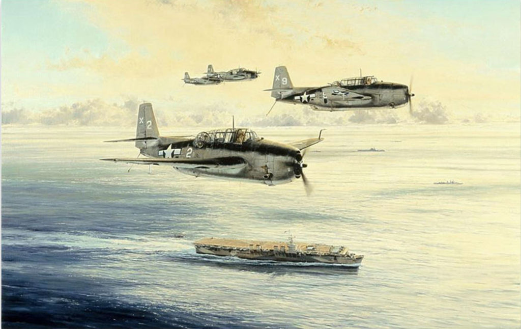 Low Holding Over the San Jacinto - Signed by George Bush. Aviation Art by Robert Taylor