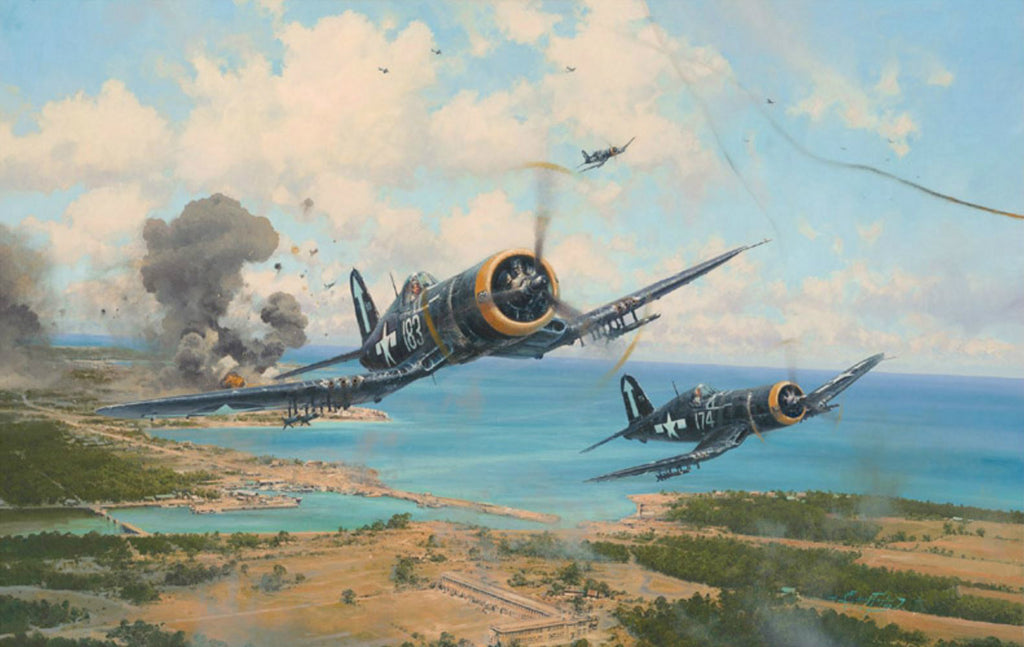 Okinawa by Robert Taylor - Signed & Autographed Aviation Art of the F4U Corsair