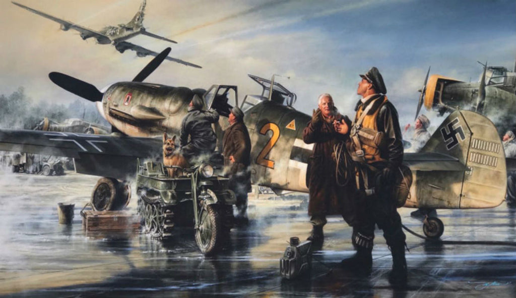 Prey For Freedom by John Shaw  - Aviation Art of the B-17 and Me109