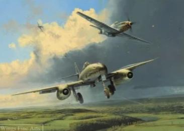 Running The Gauntlet by Robert Taylor - Aviation Art of the Me262 and the P-51