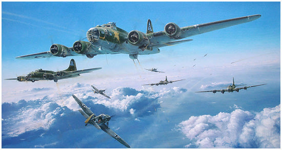 Schweinfurt - The Second Mission by Robert Taylor - Autographed Aviation Art of B-17 and Me109