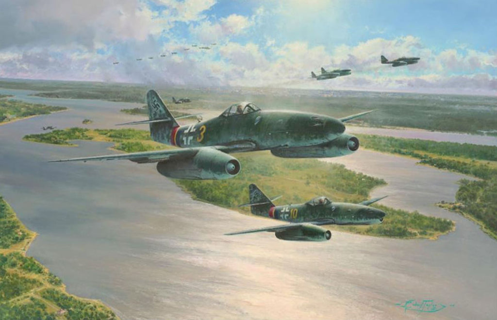 """Stormbirds Rising"" BY ROBERT TAYLOR. Art of the Me262 Jet of the Luftwaffe"