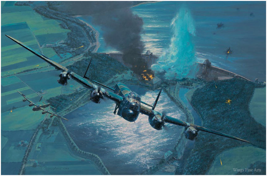 The Breach  - Aviation Art by Anthony Saunders of the RAF Lancaster Bomber