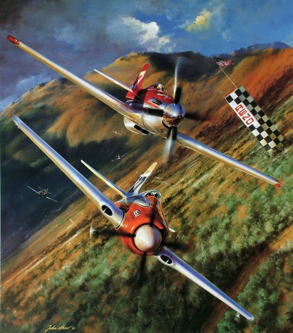 The Unlimited - The Giclee Canvas  by John Shaw - Aviation Art of the Reno Air Races