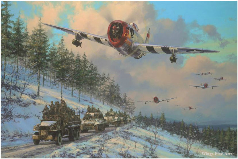 Thunders in the Ardennes by Anthony Saunders - Aviation Art of P-47 Thunderbolt
