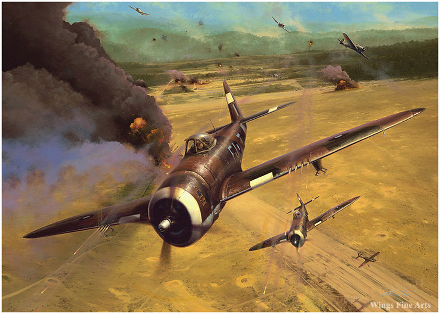 Thunder In The East by Richard Taylor - Aviation Art of P-47 Thunderbolt planes