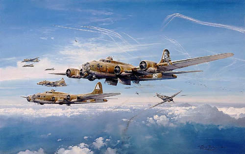 Return From Schweinfurt by Robert Taylor - Aviation Art of B-17, Spitfire, and Me109 signed by Johnnie Johnson and Adolf Galland