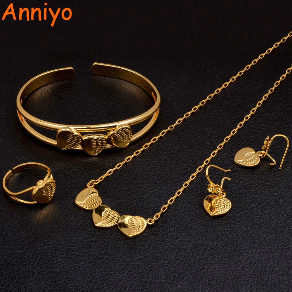 a97a0cae37 Anniyo Ethiopian Small Jewelry sets for Women/Girl Heart Necklace/Earrings/Ring/Bangle  Gold Color African Arab Gifts