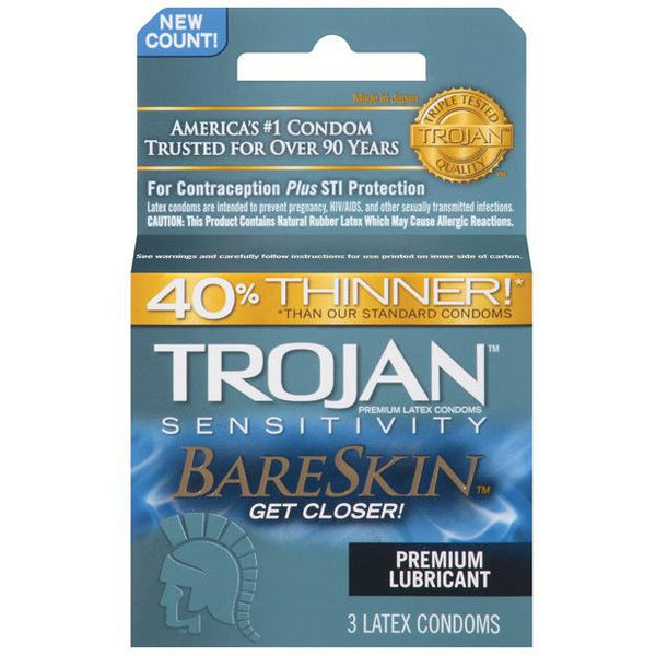 Trojan Bareskin Condoms - Box Of 3