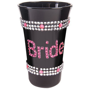 Bride Shot Glass W-pink Stones - Black