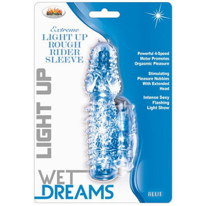Wet Dreams Rough Rider Light Up Vibrating Sleeve - Blue