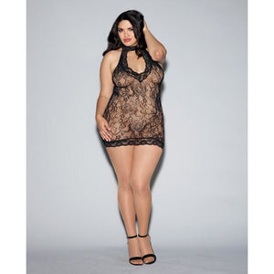 Seamless Stretch Lace Collard Chemise W-racerback & Zip Up Back Black Qn