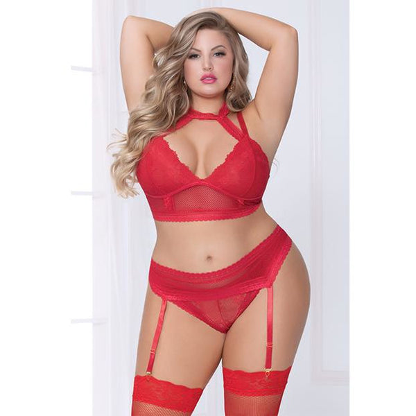 Lace & Netting Long Line Bra, Garter Belt & Open Crotch Thong Red 3x/4x