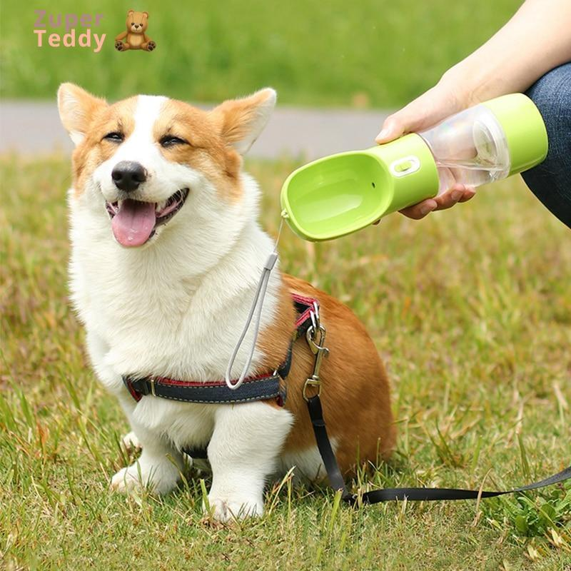 2 in 1 Pet Water Bottle with Feeder Bowl