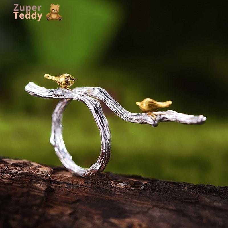 Handmade Bird on Branch Ring 18K Gold