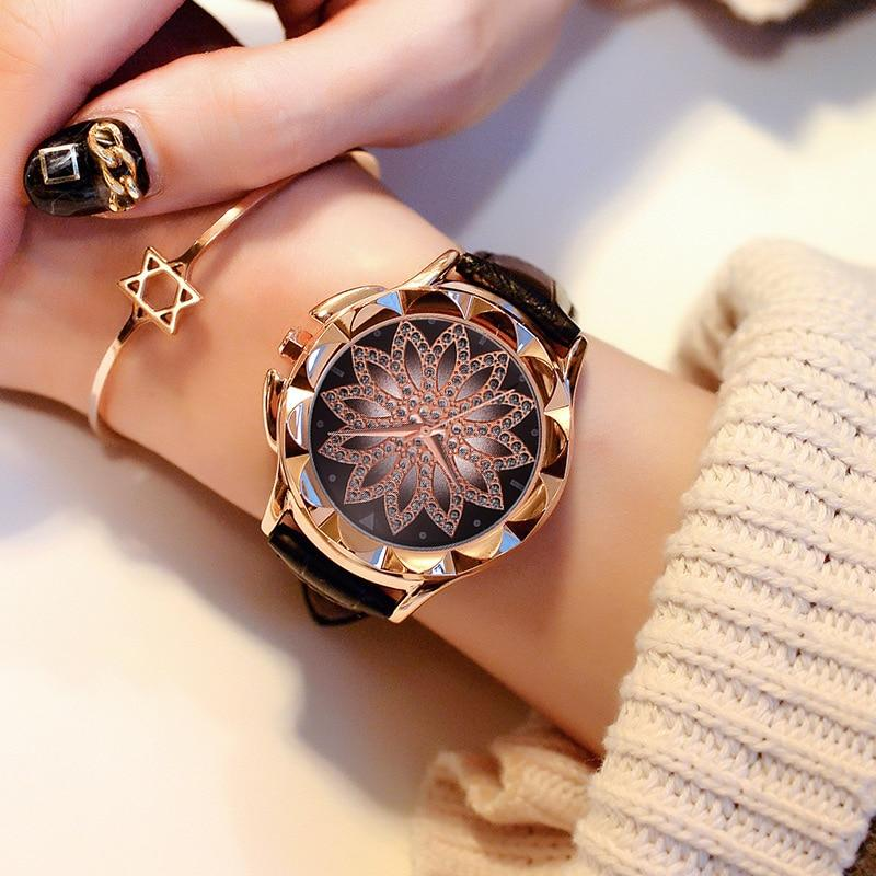 Rose Gold Rhinestone™  Leather Strap Watch