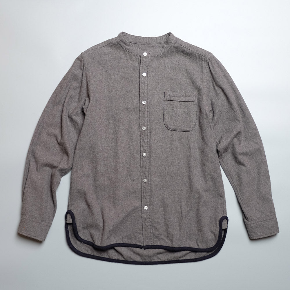 CAMP SERVICE HEM PIPING STAND COLLAR SHIRT