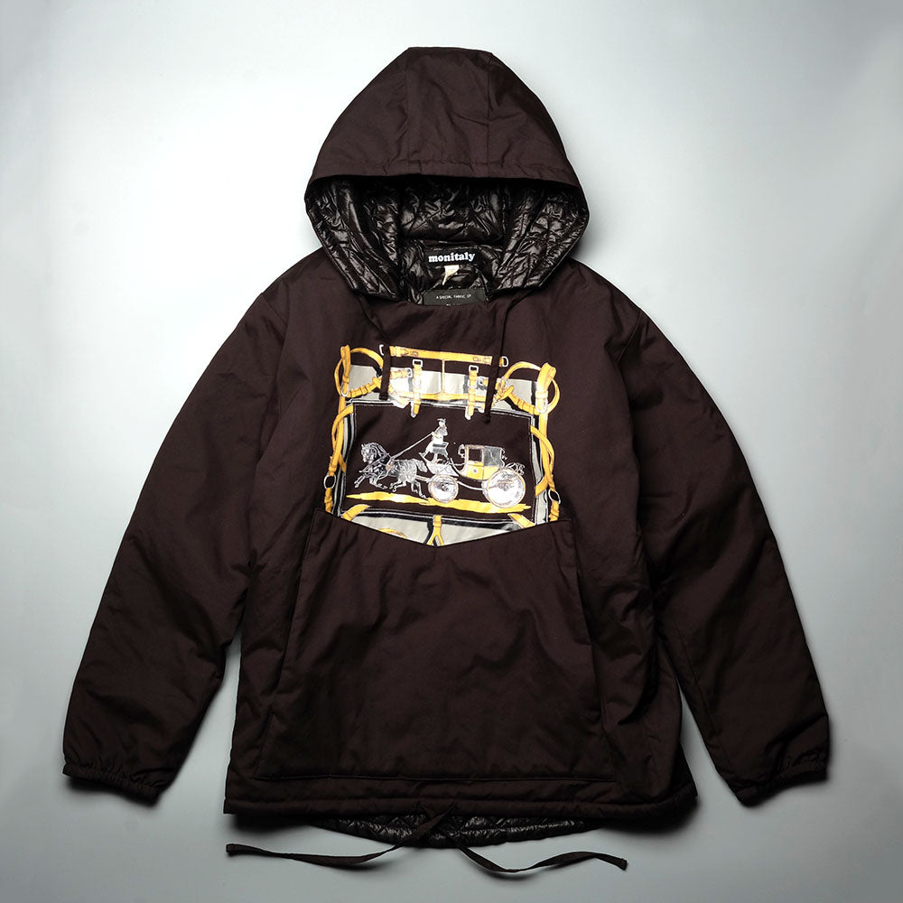 MONITALY Insulated Hooded Pullover W/ Saddler Print M24700