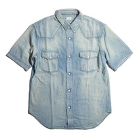BLUE BLUE ST2320 Gauze Denim Short Sleeve Western Shirt