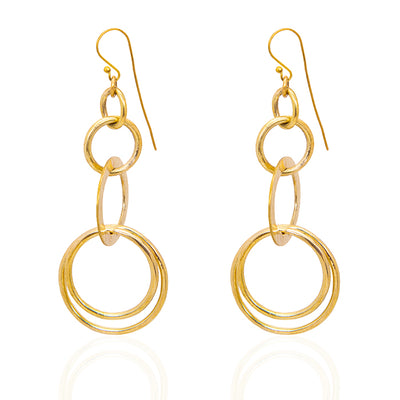 | Richa Afri Long Circle Shape Earrings | Gold Color Earrings | Richa Afri Long Earrings | Richa Afri Earrings | Circle Shape Earrings |
