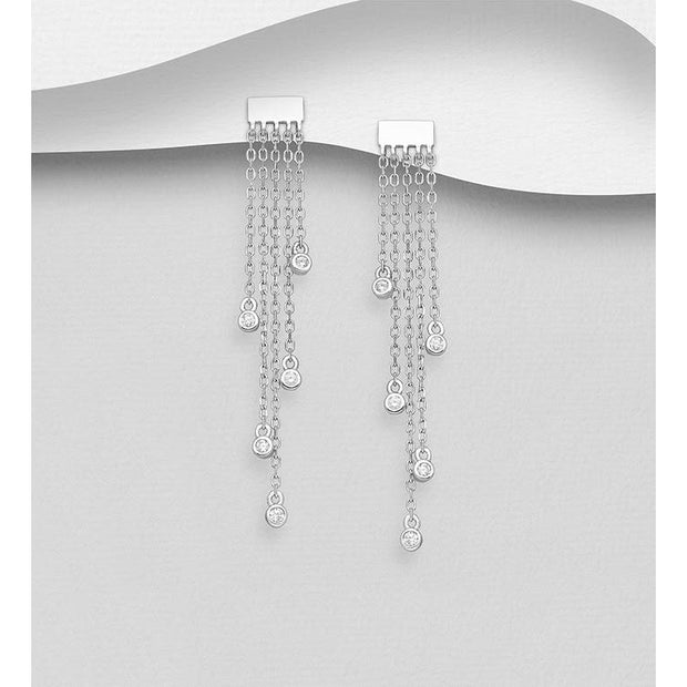 |  Chain Reaction Earrings | 5 Chain Earrings | Silver Chain Earrings | Chain Earrings | Women Chain Earrings |