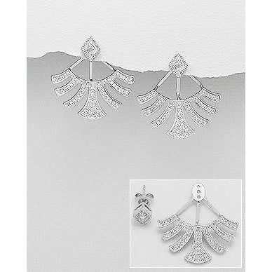 | Fan Silver Women Earrings | 925 Silver Earrings | Fan 100% Silver Earrings | Earrings for Women | Fan Earrings | Silver Earrings |