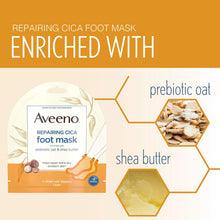 Repairing CICA Foot Mask with Prebiotic Oat and Shea Butter, for Extra Dry Skin, Paraben-Free and Fragrance-Free
