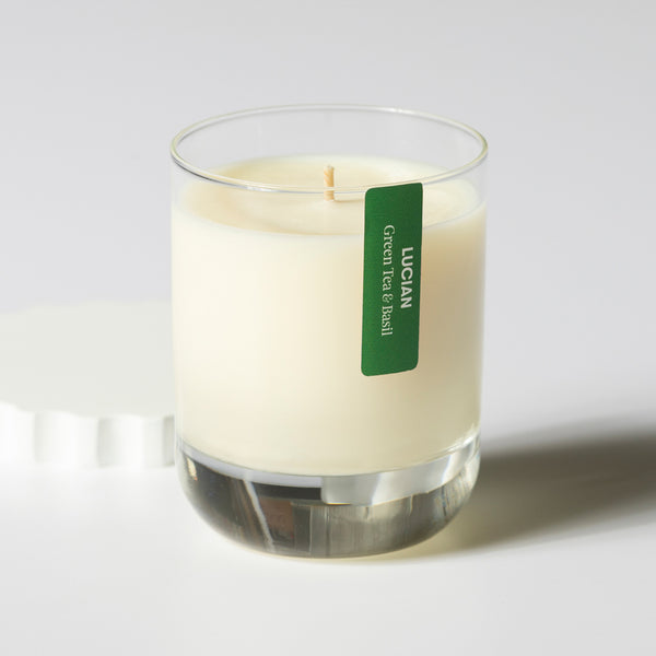 Green Tea & Basil Glass Candle