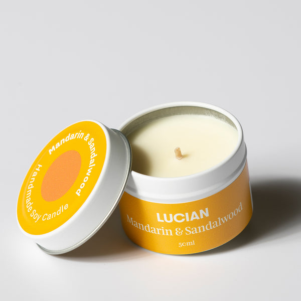 Mandarin & Sandalwood Travel Tin Candles