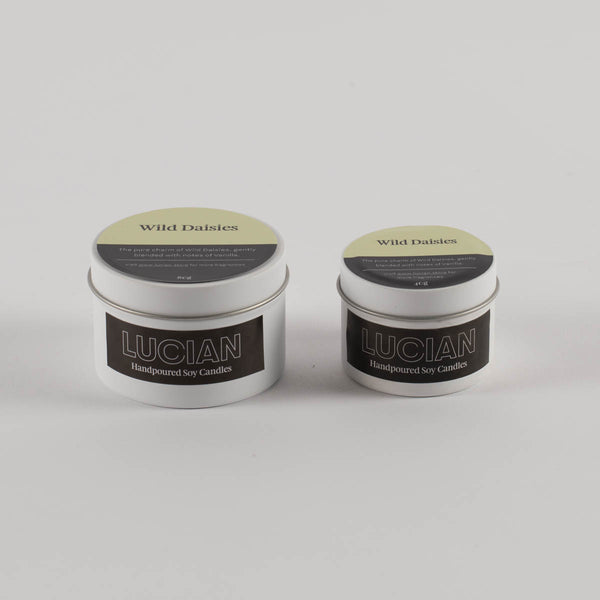 Natural soy travel tin candles  in wild daisies