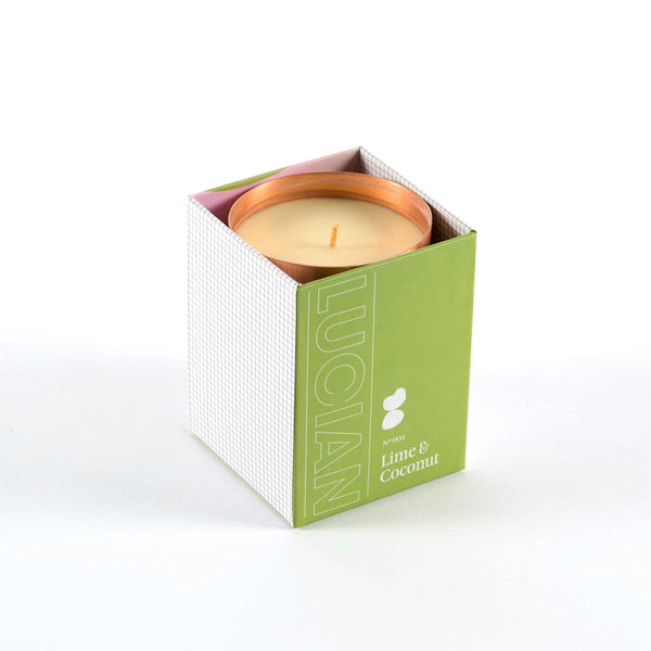 Lime and coconut soy candle in copper jar-modern gift ideas for Father's Day