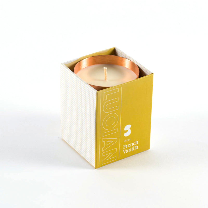 brushed copper with delectable scented candle