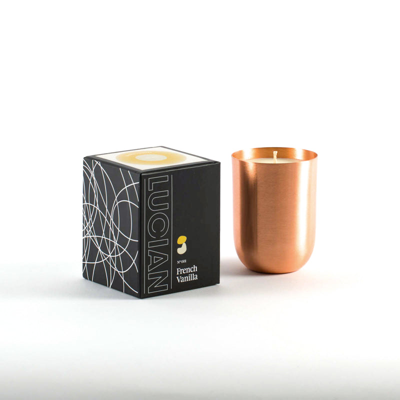 french vanilla with rose gold candle with stunning and chic design