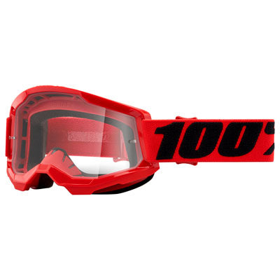 100% Strata 2 Goggle Red Frame/Clear Lens