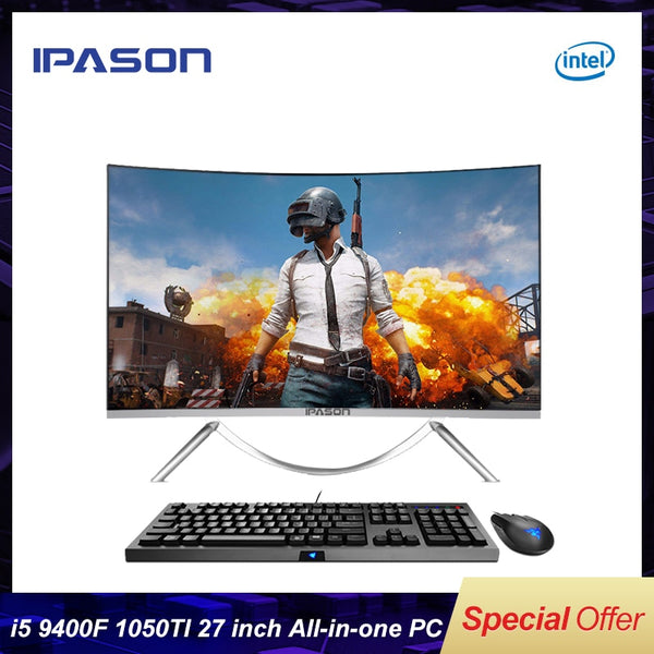 IPASON all in one Gaming PC V10 27inch Intel 6 Core I5 9400F DDR4 8G RAM 480g SSD Non-Integrated 1050ti 4G Graphics card