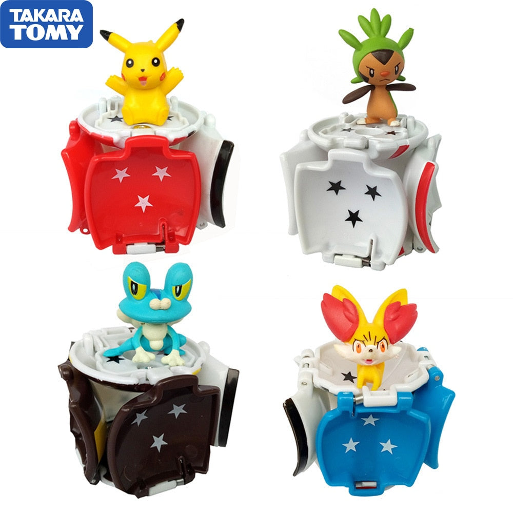 1Pcs Takara Tomy Pokemon Pikachu pokemon ball + 1pcs Free Tiny Random Figures Inside Action Figures Toys