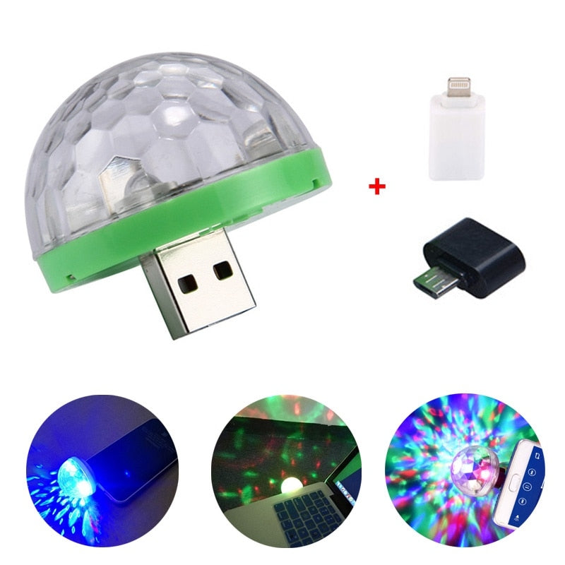 Adeeing USB Disco Light LED Party Lights Portable Crystal Magic Ball Colorful Effect Stage Lamp For Home Party Karaoke Decor