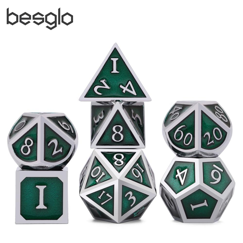 Polyhedral Metal Dice Set Zinc Alloy with Enamel Solid Metal for DND Game Tabletop RPG Silver&Green