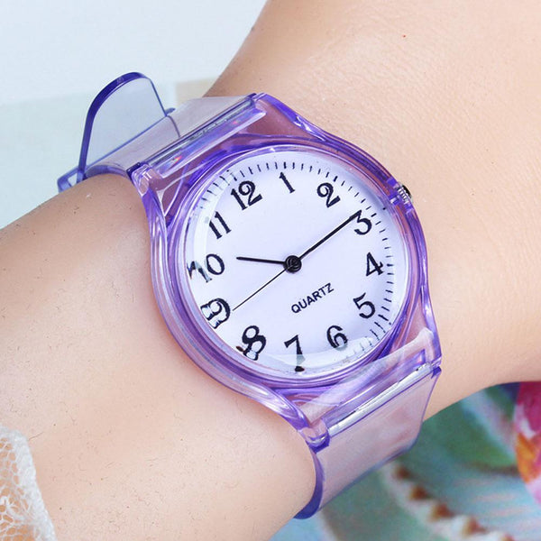 2019 New Lovers Men Women Watches Fashion Transparent Candy Color Plastic Band Casual Quartz Watches Female Male Wristwatches