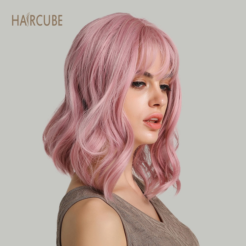 "Haircube 14"" Synthetic Hair Pink Colors Short Water Wave Wigs For White/Black Women Heat Resistant Fiber Daily Full False Hair"