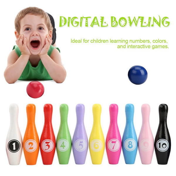 Wooden Color Digital Bowling Children Educational Toy Indoor Outdoor Sports Bowling Game Bowling Kid Gift