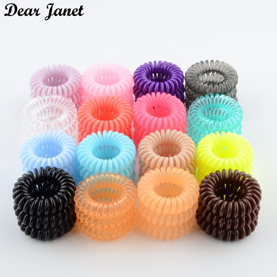 1box 3.5cm Fashion Cute Candy Color telephone line hair gum styling tools headwear drop shipping