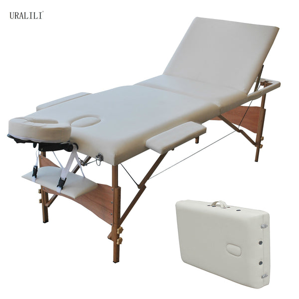 Massage Table Folding 84 Inchs Professional Massage Bed 3 Fold Lash Bed with Head Armrest Black White Beech Wood Legs