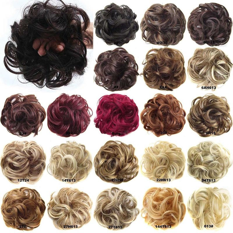 Oubeca Synthetic Flexible Hair Buns Curly Scrunchy Chignon Elastic Messy Wavy Scrunchies Wrap For Ponytail Extensions For Women