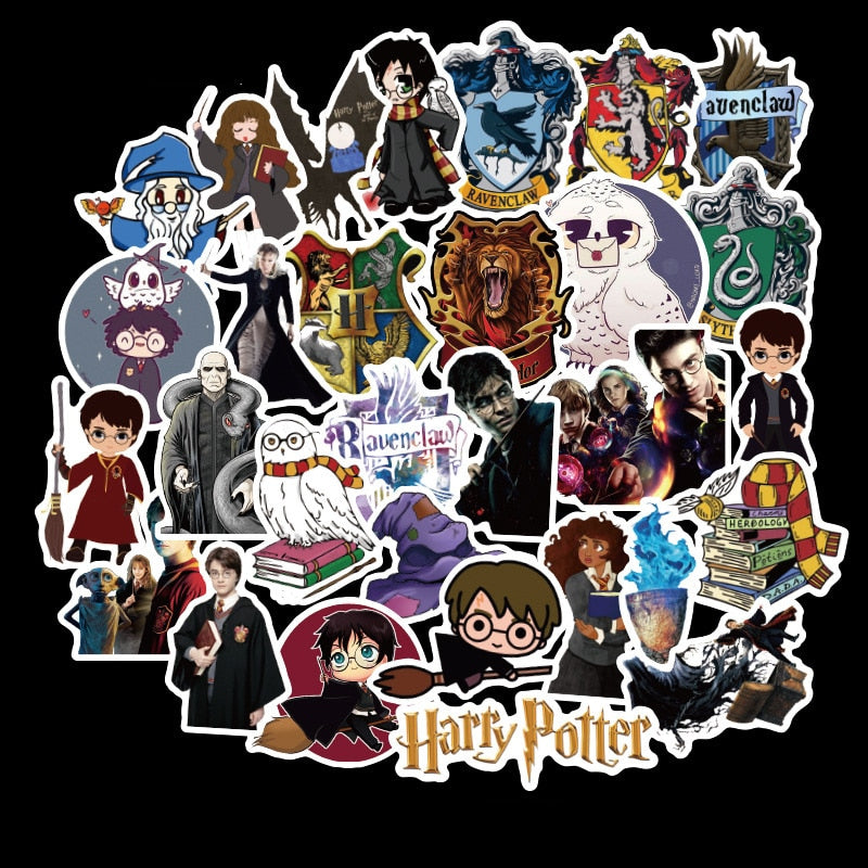 Stickers 100 pcs Harry Potter Car Laptop Luggage Vintage Skateboard Wall Decor Gift for Kids D120-3