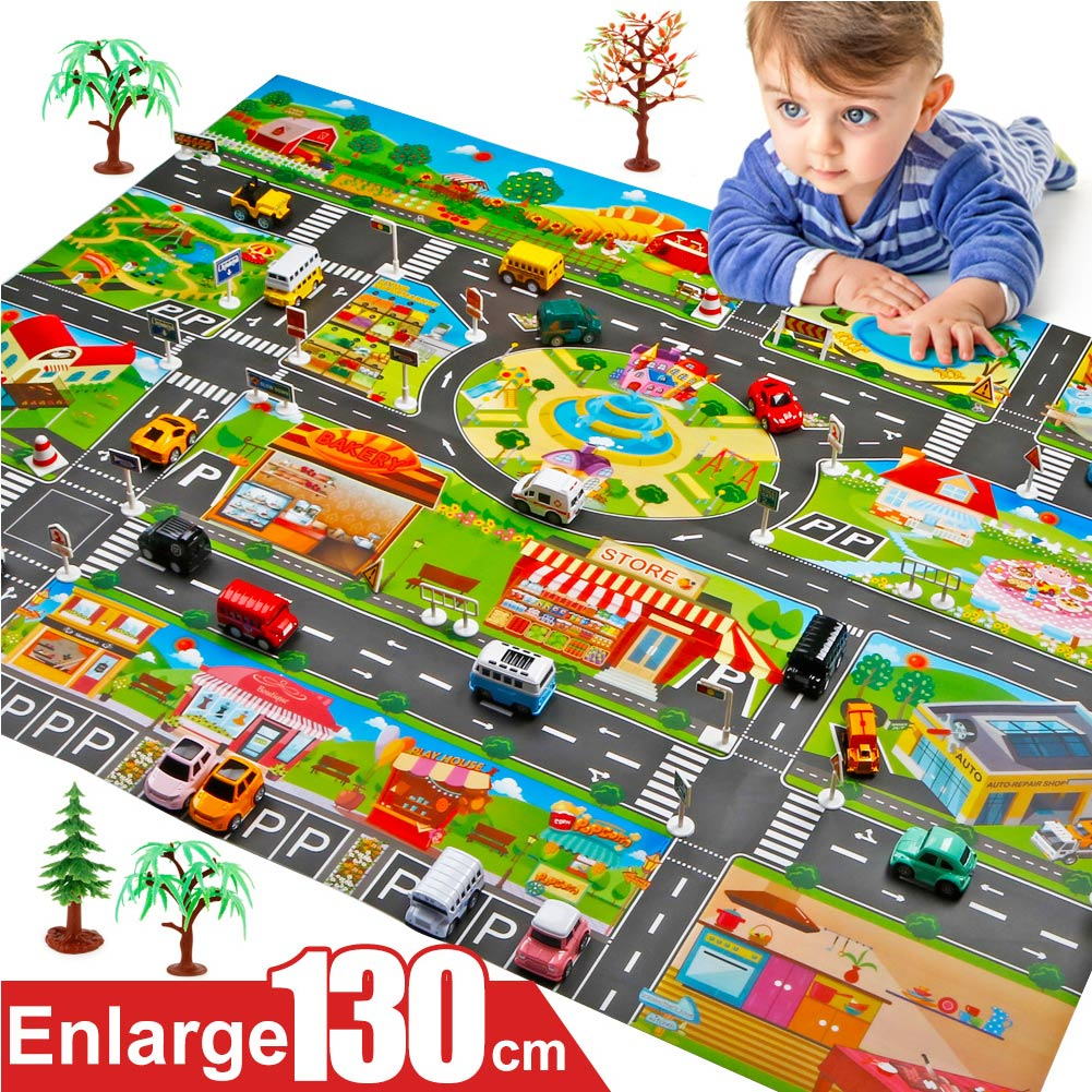 Hot Selling Children Play Mats House Traffic Road Signs Car Model Parking City Scene Map