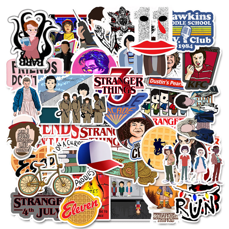 50 Pcs Stranger Thing Figure Stickers Set refrigerator Sticker For Luggage Skateboard Motorcycle Laptop Waterproof Sticker