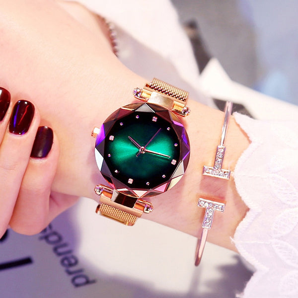 Luxury Women Stainless Steel Quartz Watches Fashion Diamond Ladies Starry Sky Magnet Watch Waterproof Female Wristwatch